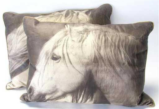 at adam am shot grey trest screen pillow horse