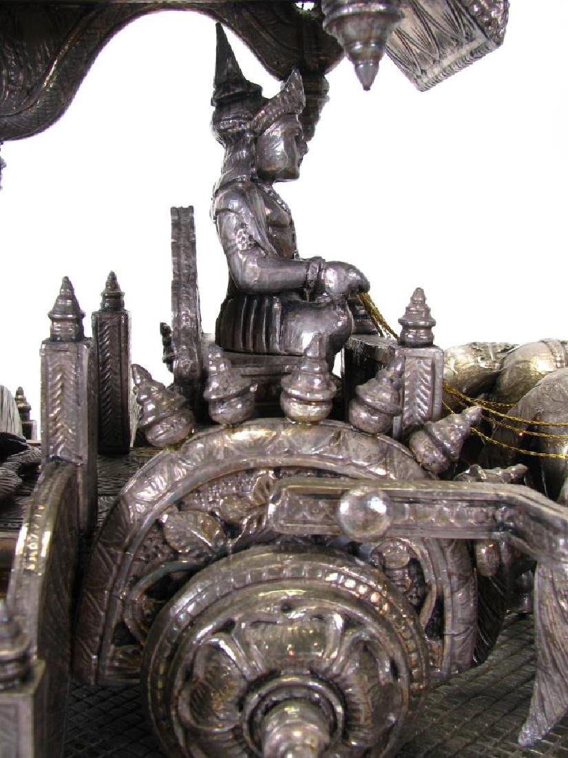 Hindu Silver Clad Wooden Arjuna and Carriage - 10
