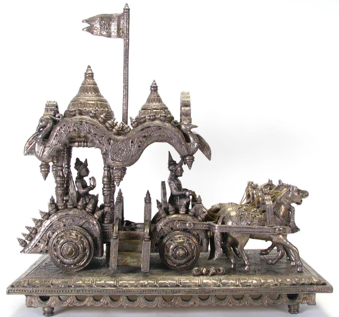 Hindu Silver Clad Wooden Arjuna and Carriage