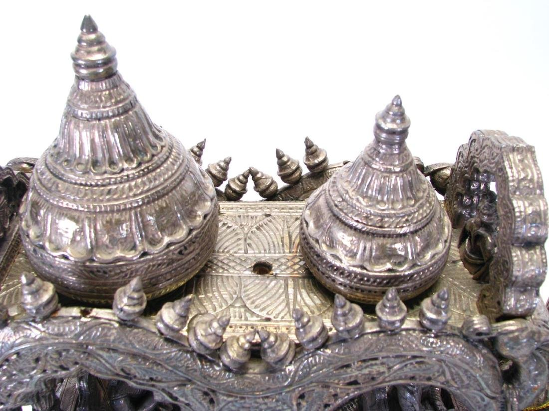 Hindu Silver Clad Wooden Arjuna and Carriage - 2