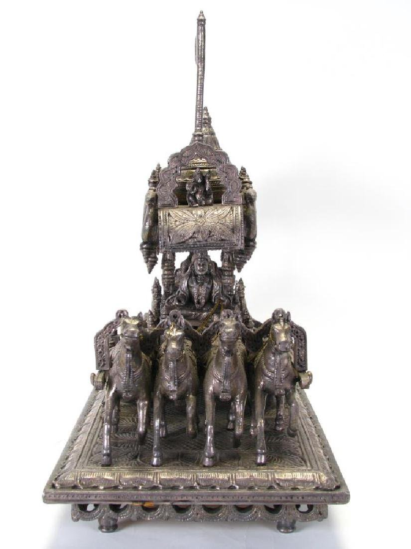 Hindu Silver Clad Wooden Arjuna and Carriage - 3