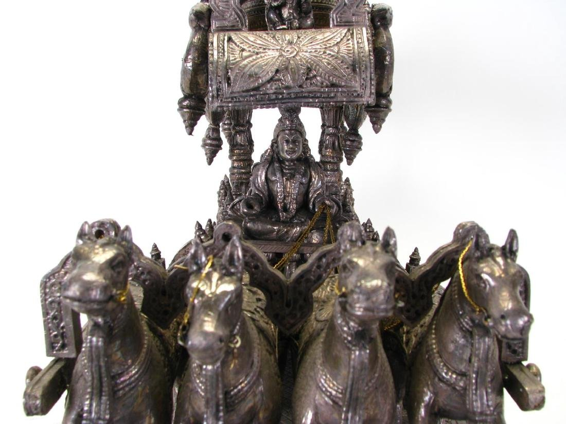 Hindu Silver Clad Wooden Arjuna and Carriage - 4