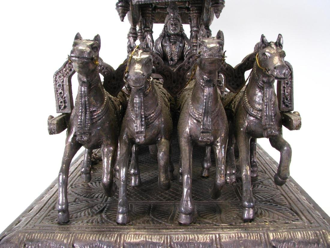Hindu Silver Clad Wooden Arjuna and Carriage - 5