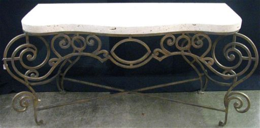 Cast Metal And Stone Console Table Kreiss Sep 16 2017 Wickliff Auctioneers In