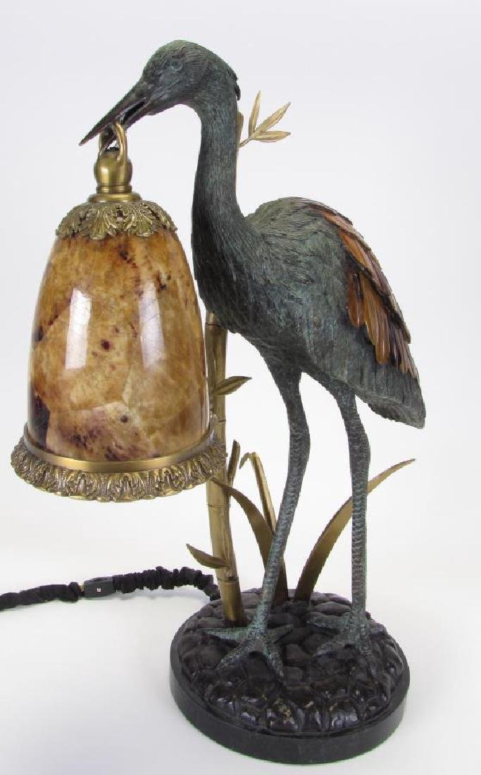 Maitland-Smith Bronze Crane Lamp