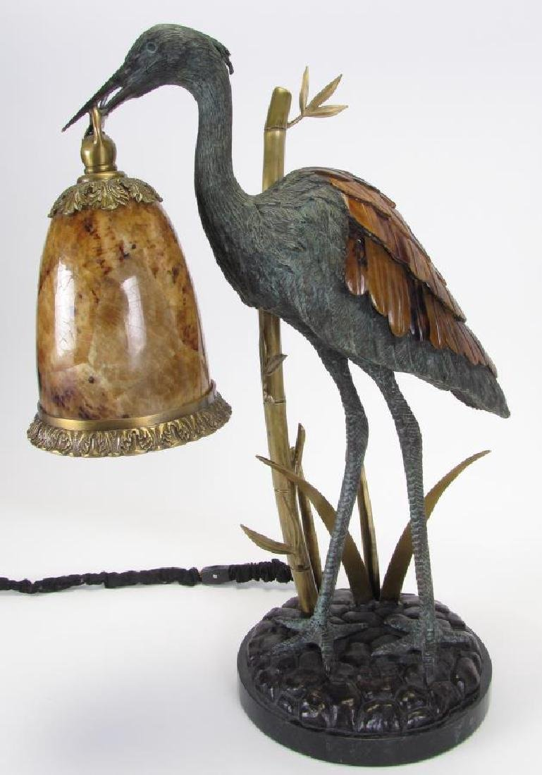 Maitland-Smith Bronze Crane Lamp - 2