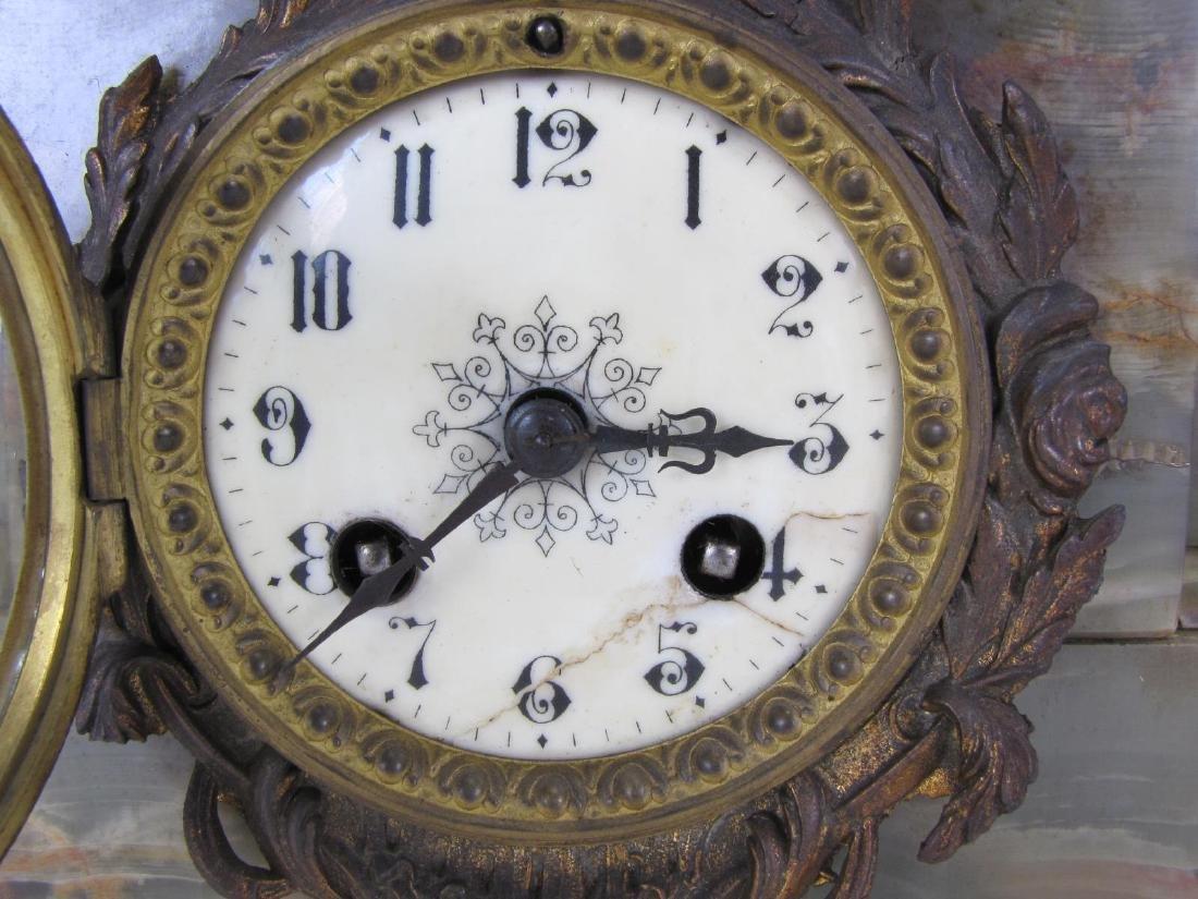 Figural Spelter Clock and Garniture Set - 5