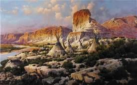 """Bruce Cheever 23x37 O/B """"Palisades Camp"""""""