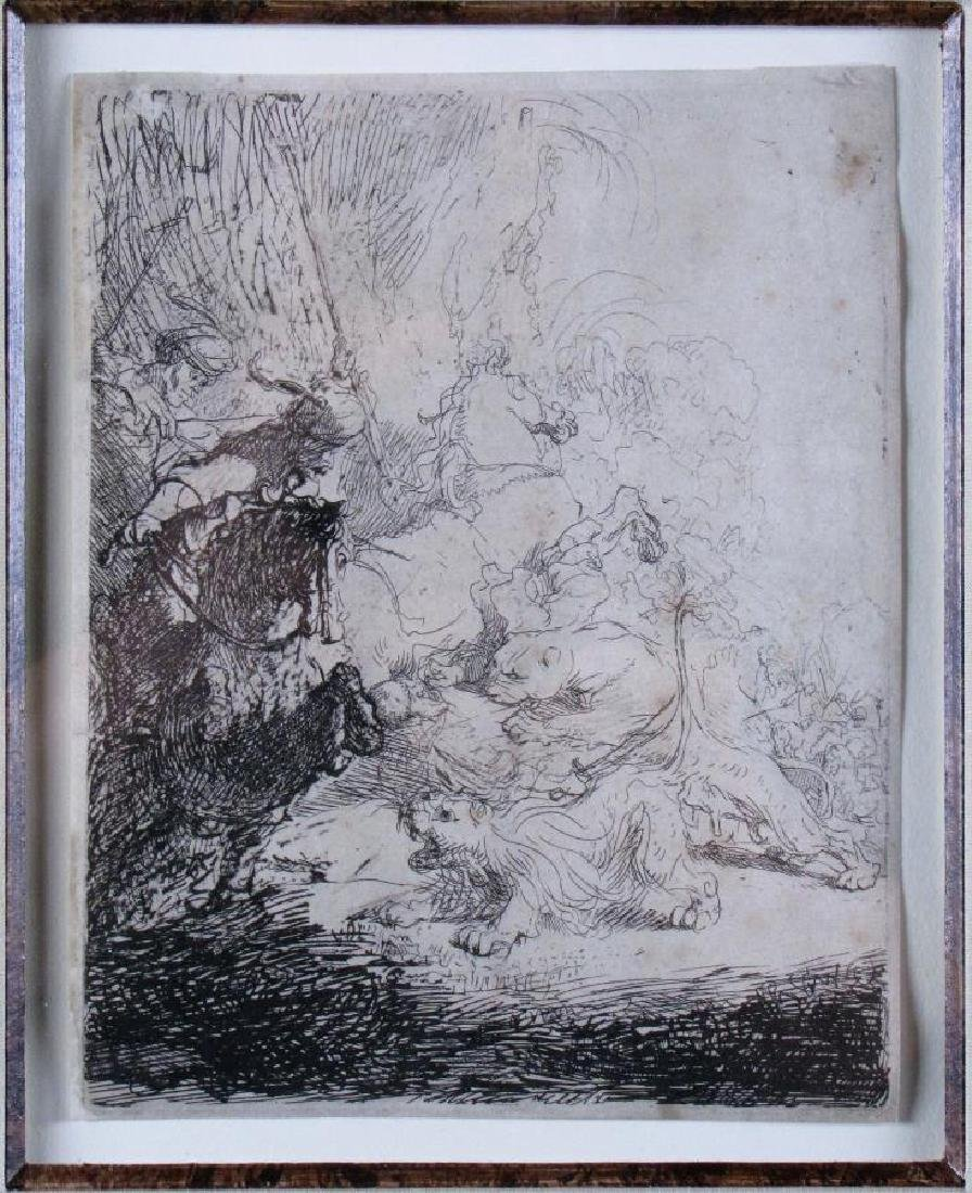 "17th Cent Rembrandt Etching ""Small Lion Hunt"" B115"