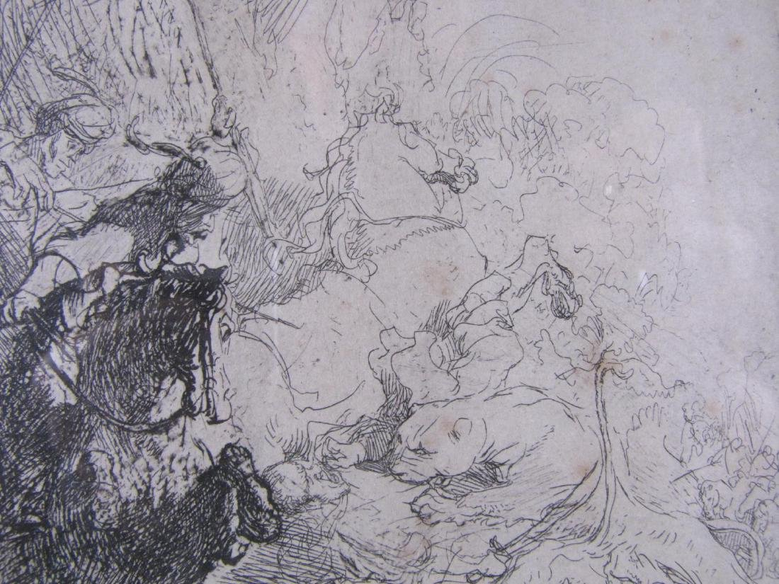 "17th Cent Rembrandt Etching ""Small Lion Hunt"" B115 - 3"