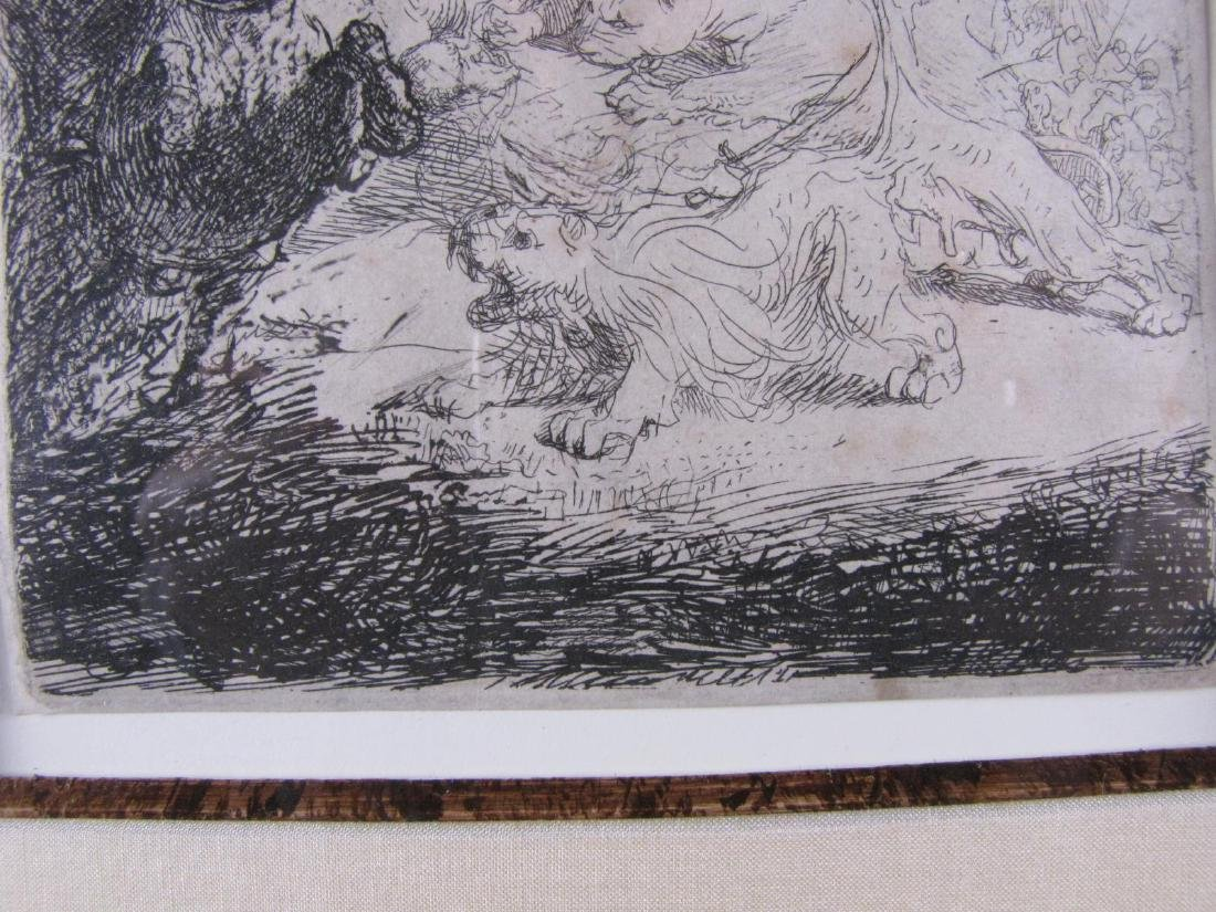 "17th Cent Rembrandt Etching ""Small Lion Hunt"" B115 - 4"