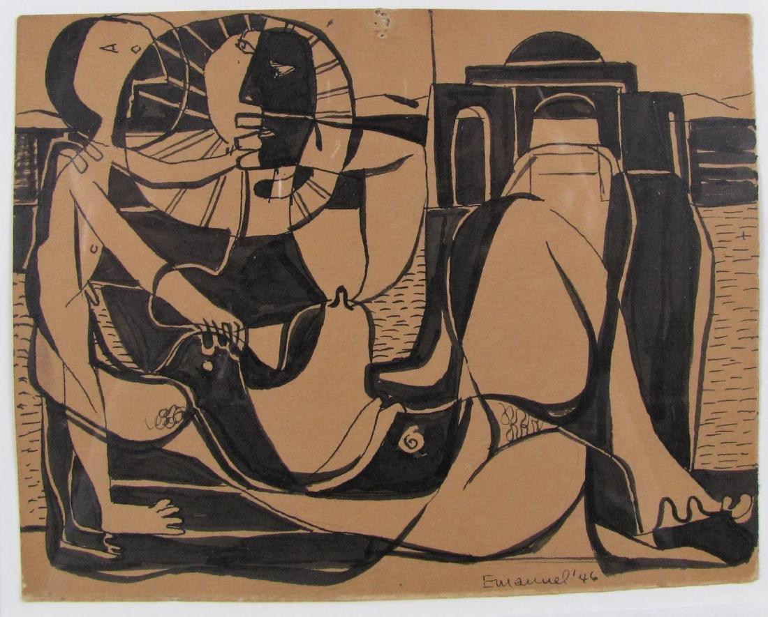 Herzl Emanuel 5.5x7 Ink/Card Cubist Couple