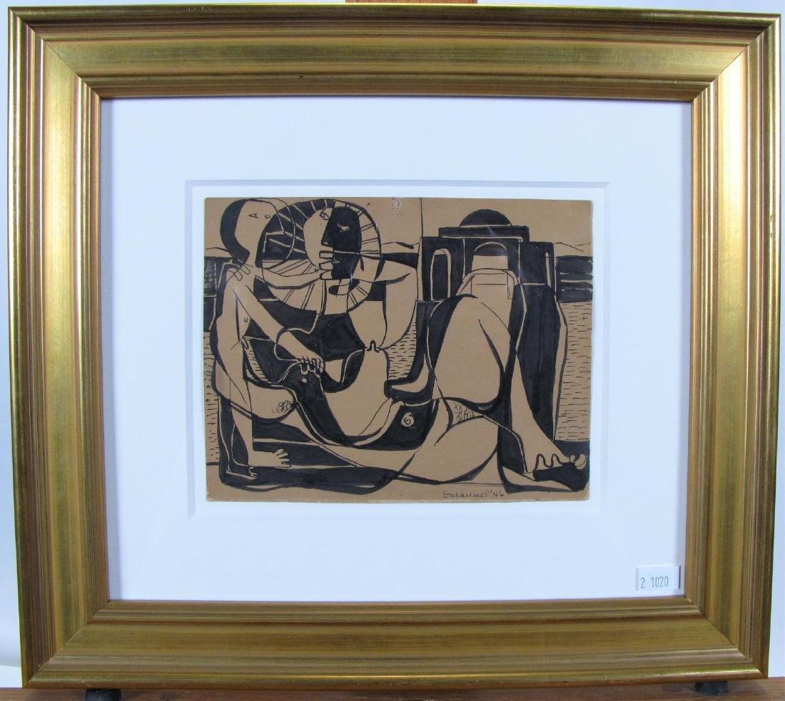 Herzl Emanuel 5.5x7 Ink/Card Cubist Couple - 2