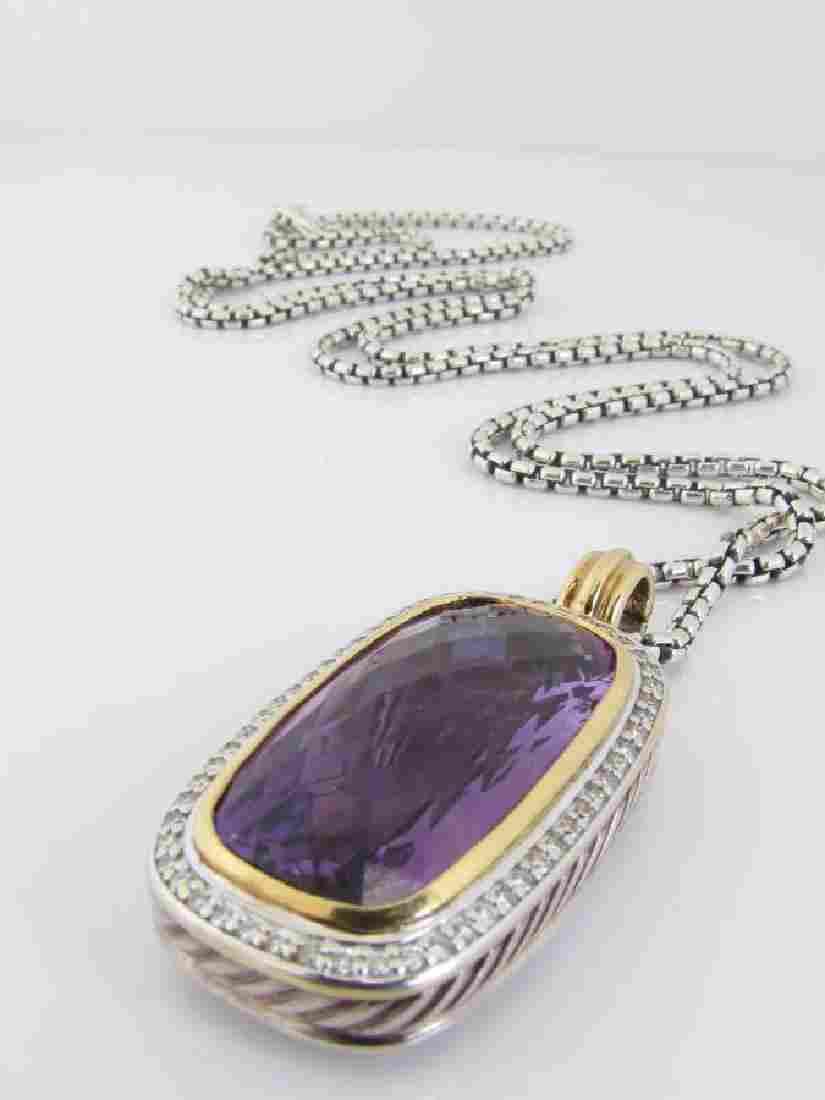 David Yurman 18K/Sterling Amethyst/Diamond Pendant