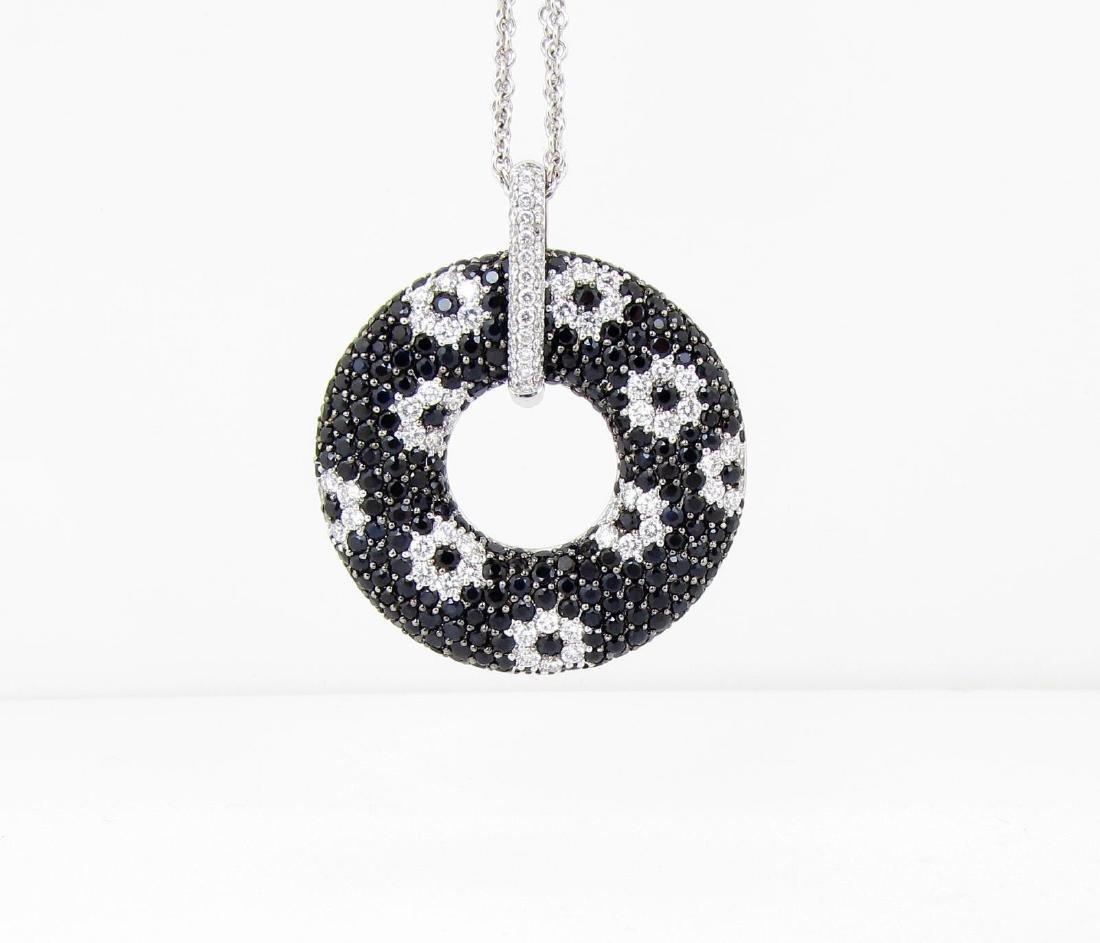 18K Roberto Coin Black Sapphire, Diamond Pendant