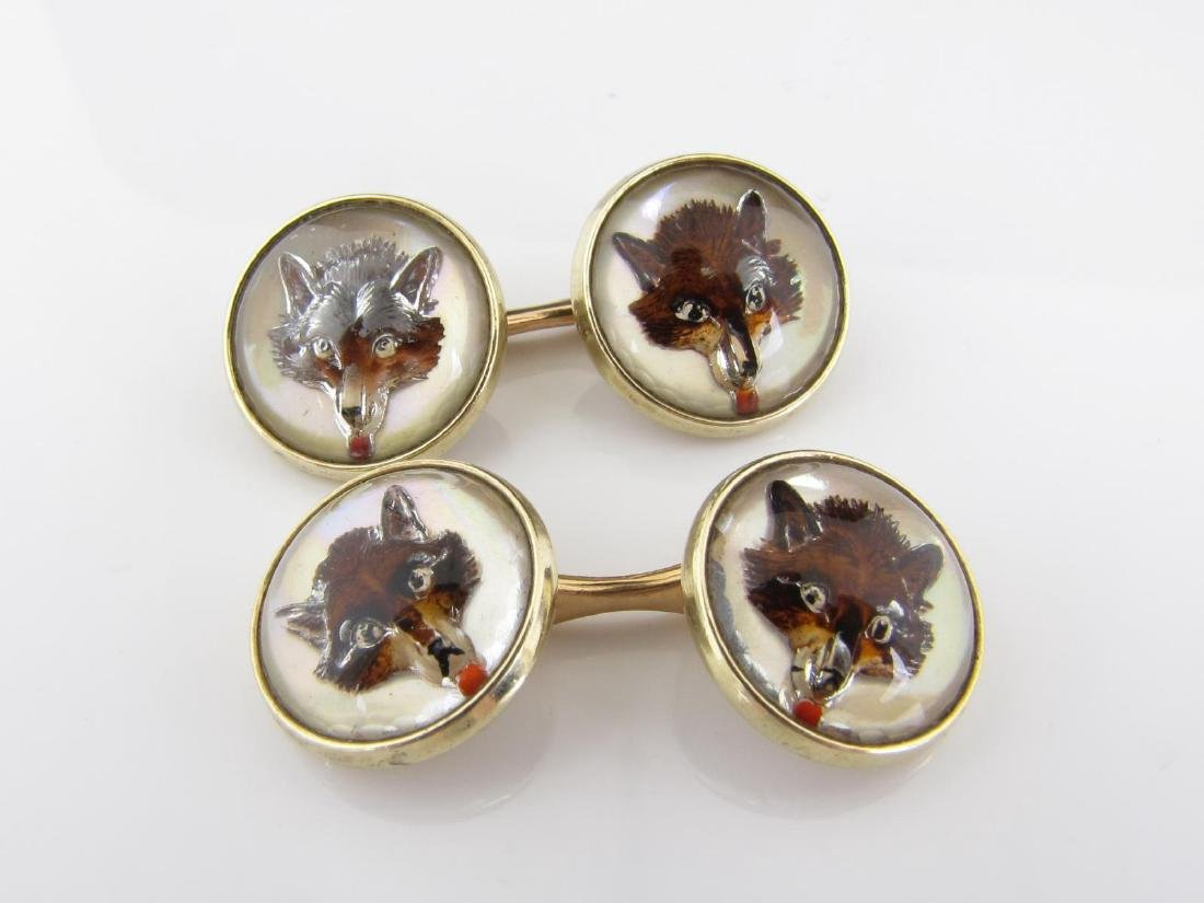 14K Yellow Gold English Crystal Cufflinks