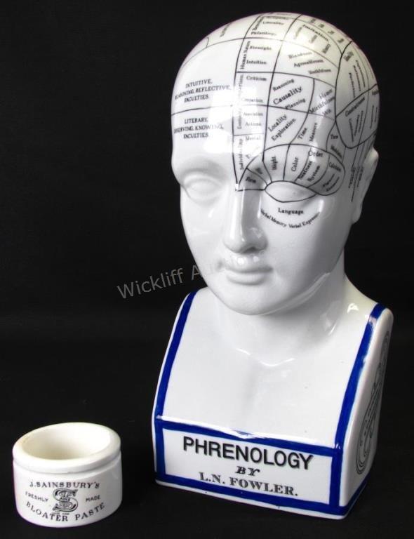 L.N. Fowler Porcelain Phrenology Bust