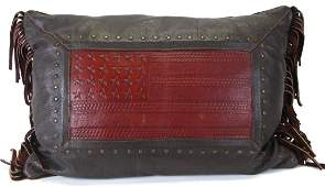 American West Leather Flag Decorative Pillow