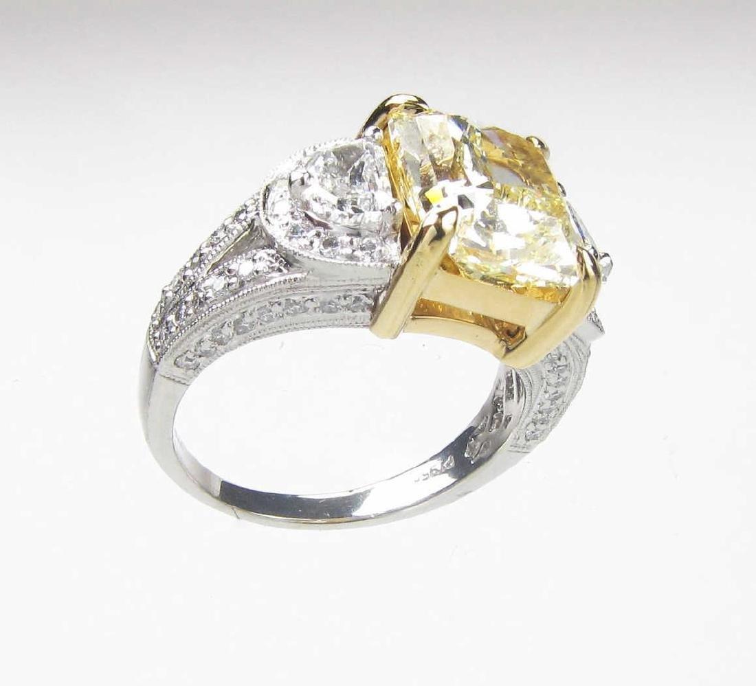 **18K/Platinum 3.87 Yellow with White Diamond Ring