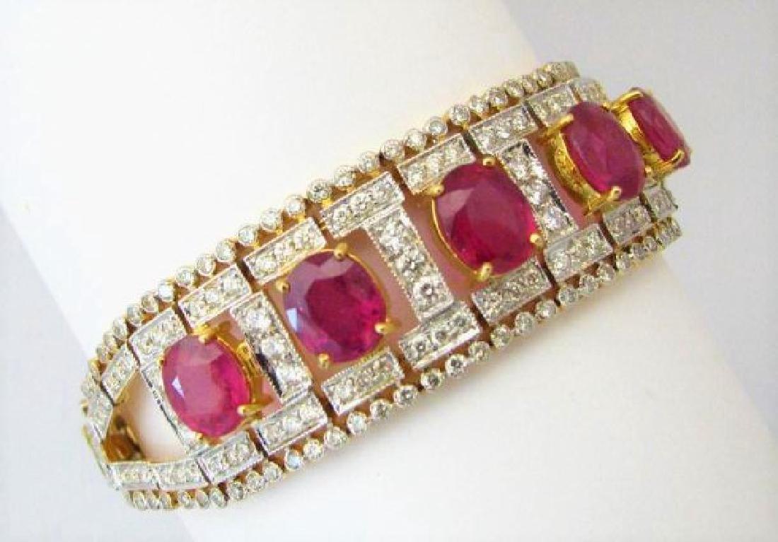 **18K Yellow Gold Estate Diamond Ruby Bracelet**