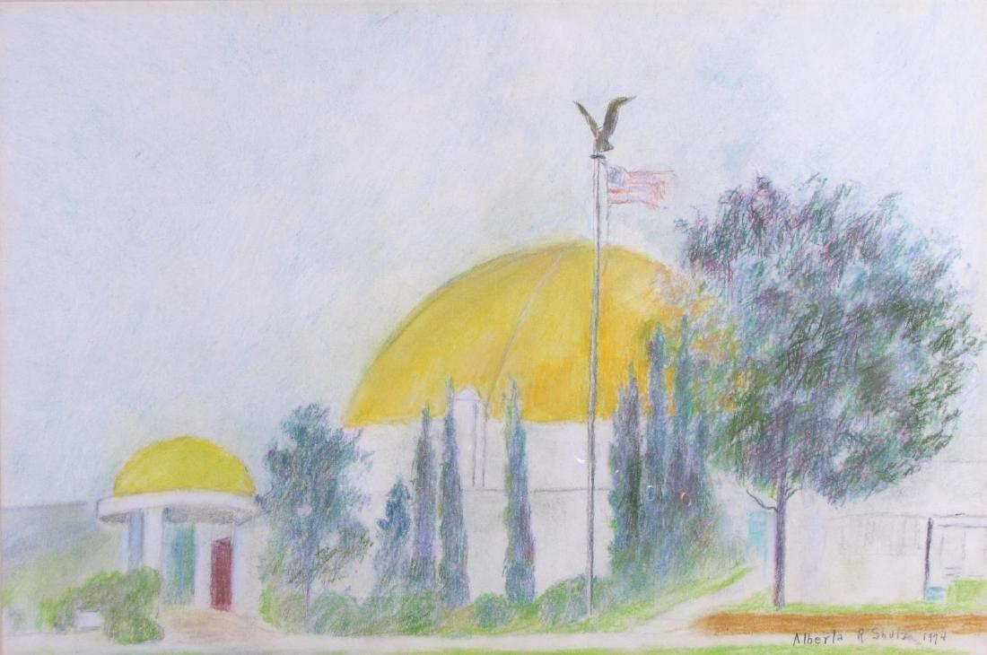 Alberta Shulz 13x20 Pastel Dome and Flag