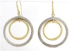 18K Sterling David Yurman Double Circle Drop Earrings