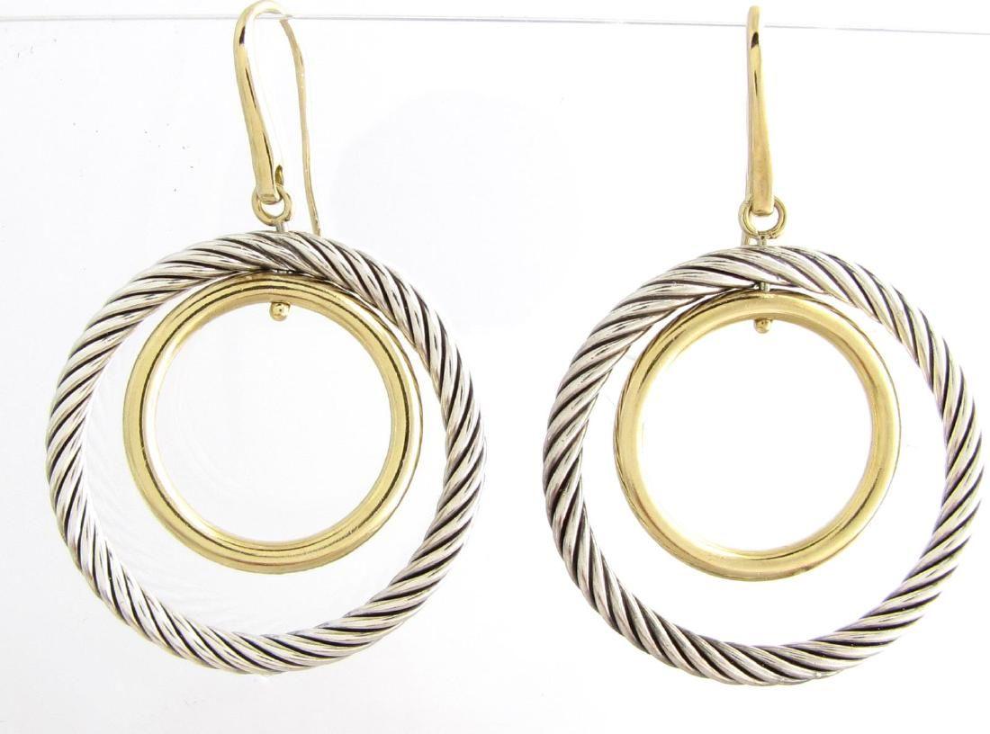 18K/ Sterling David Yurman Double Circle Drop Earrings