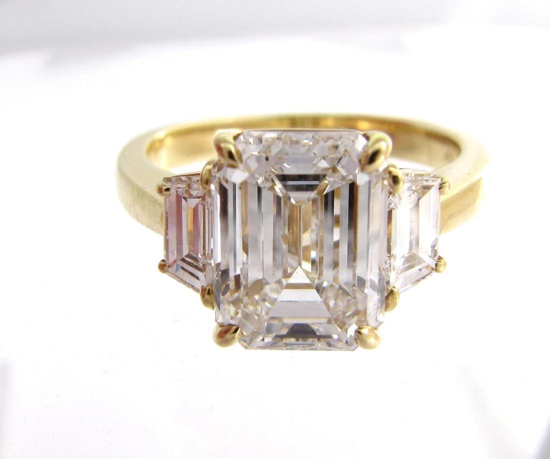 Beautiful 18K Yellow Gold Emerald Cut Diamond Ring