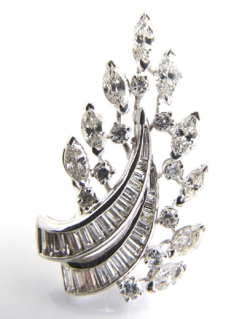 18K Vintage Diamond Brooch, 2CT+