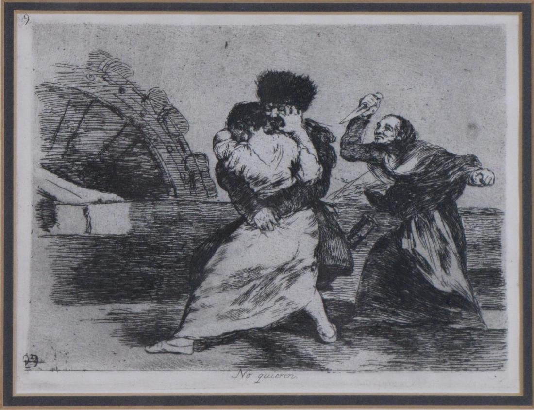 "Francisco Goya Etching, ""No Quiren"" - 2"