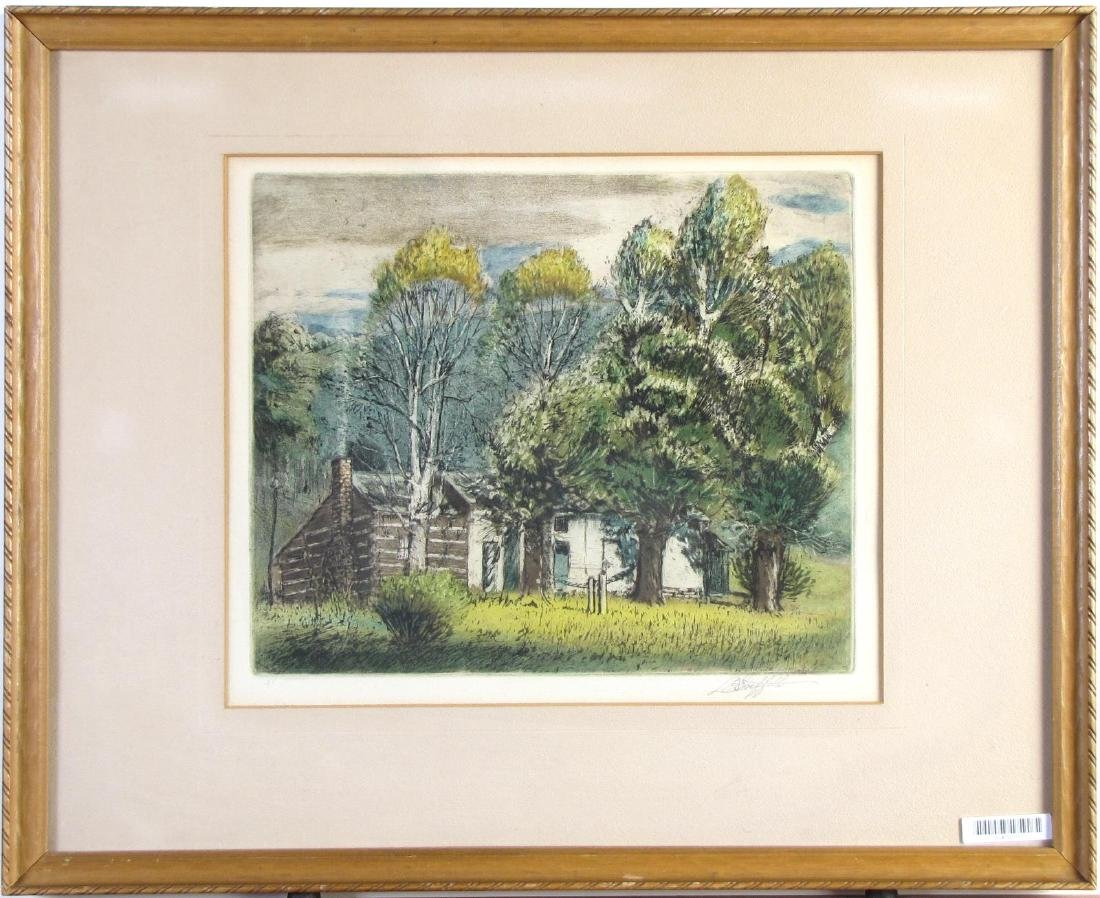 LO Griffith Aquatint Etching, Country Cottage