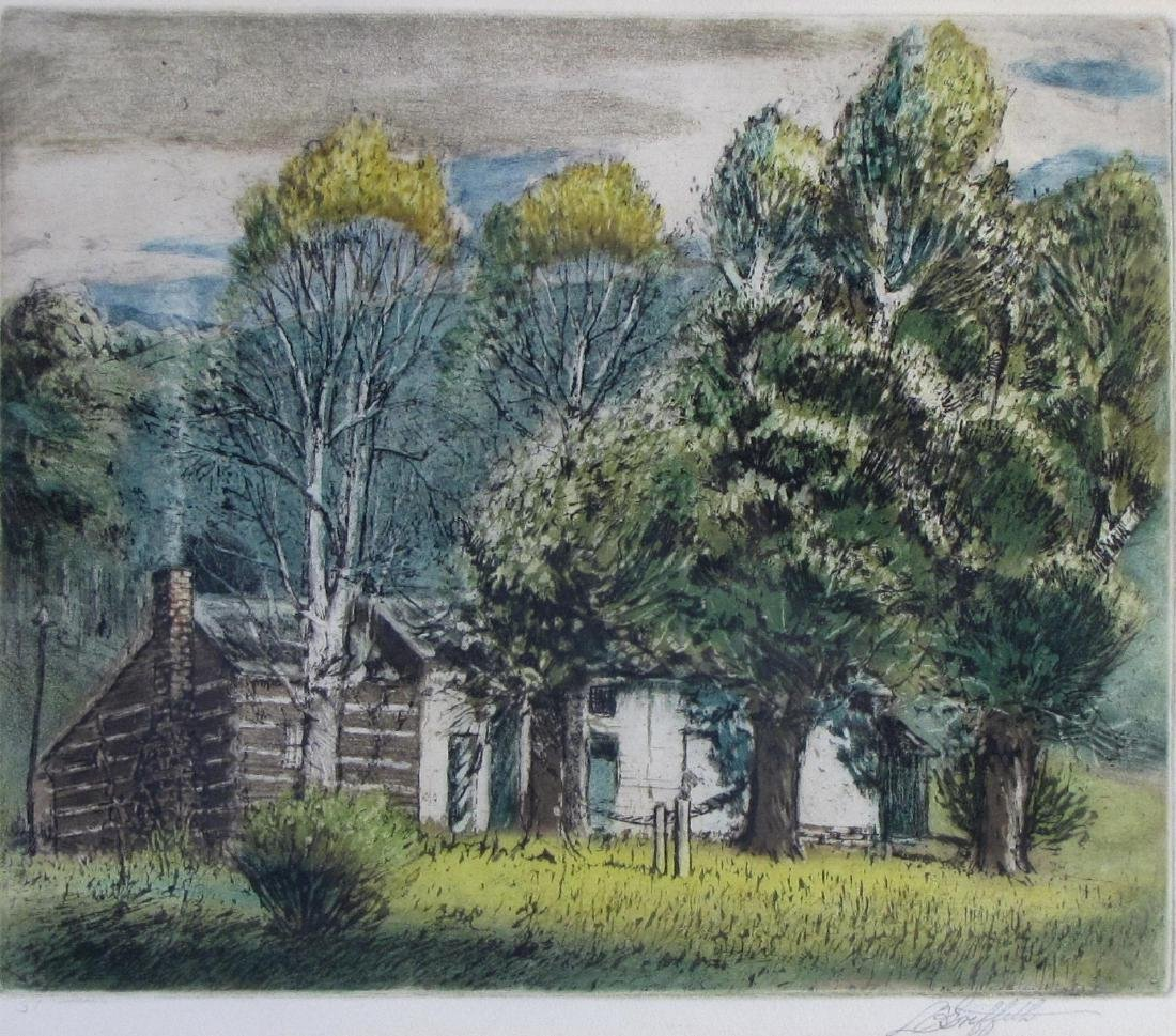 LO Griffith Aquatint Etching, Country Cottage - 2