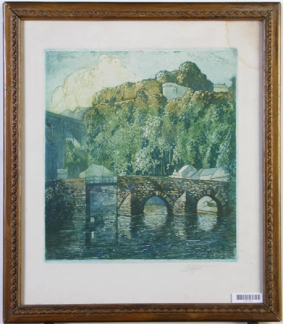 L.O. Griffith Aquatint Etching, European Bridge