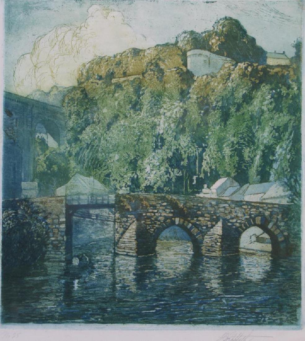 L.O. Griffith Aquatint Etching, European Bridge - 2