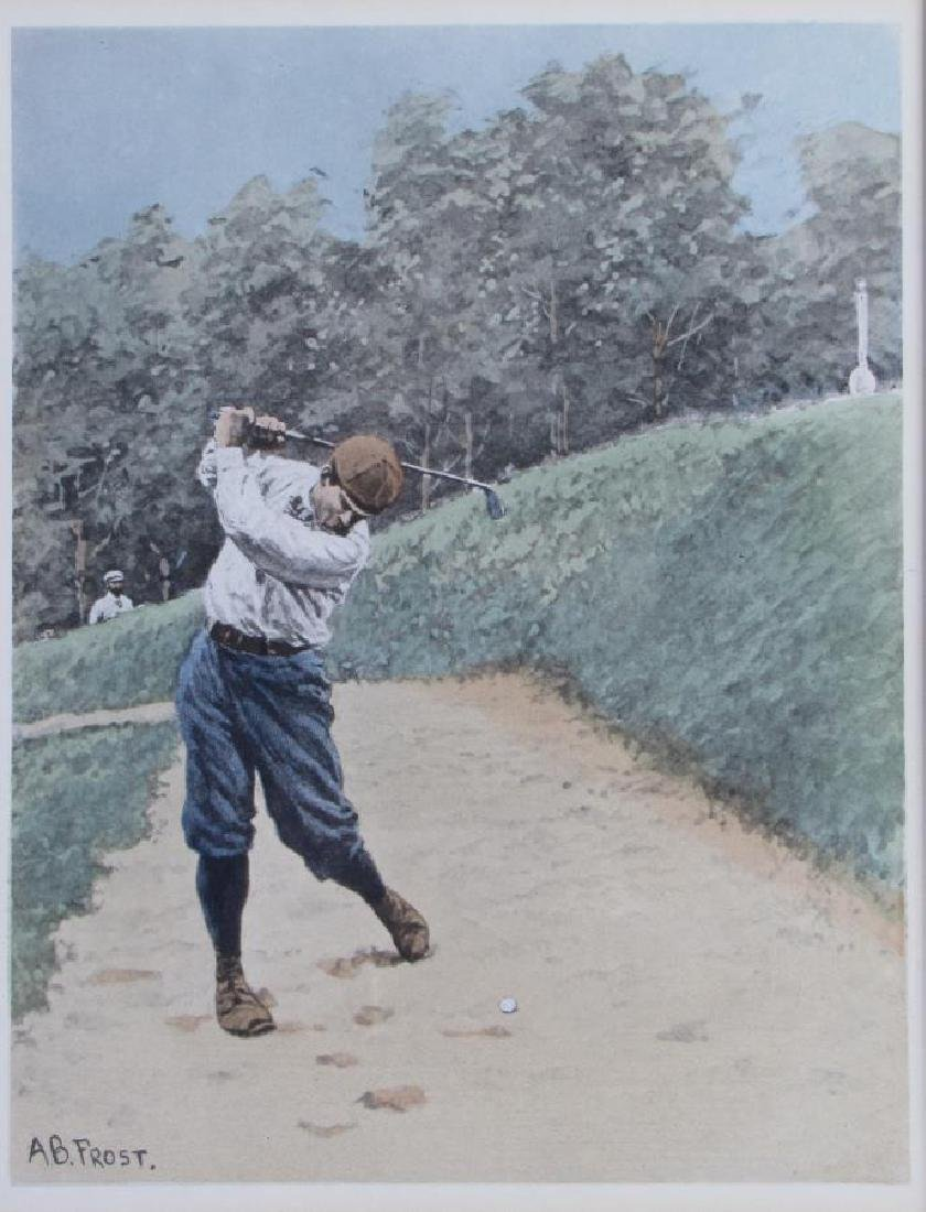 After AB Frost Lithograph, Golfing Out of Bunker