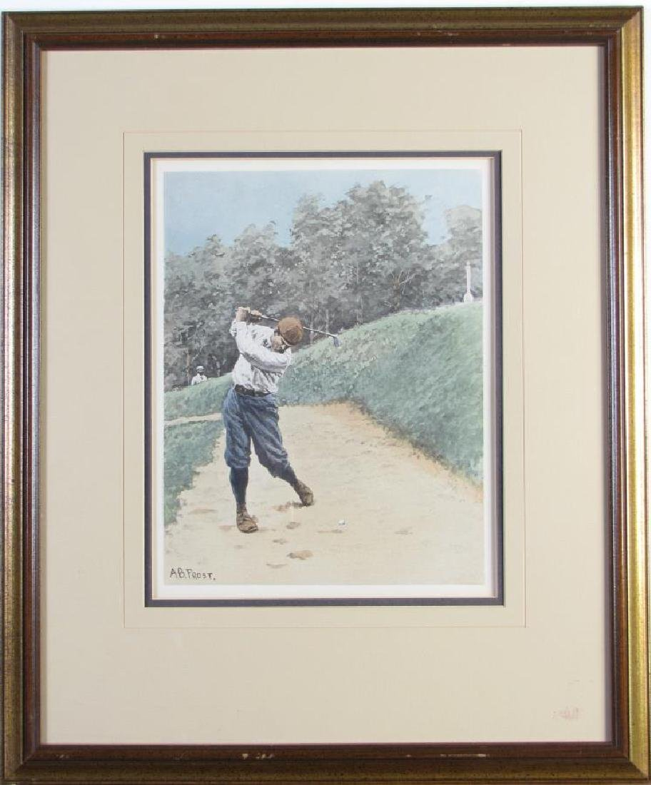 After AB Frost Lithograph, Golfing Out of Bunker - 2