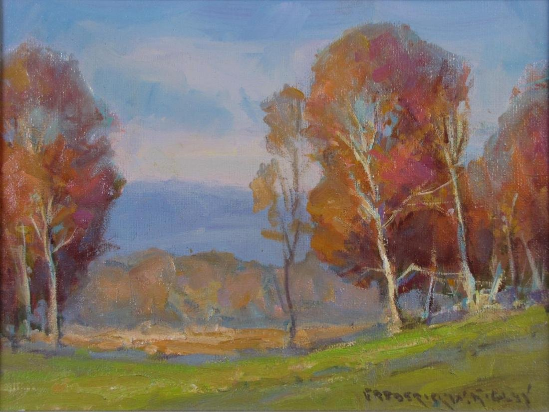 "Fred W Rigley 9x12 O/C ""Brown County Fall"""