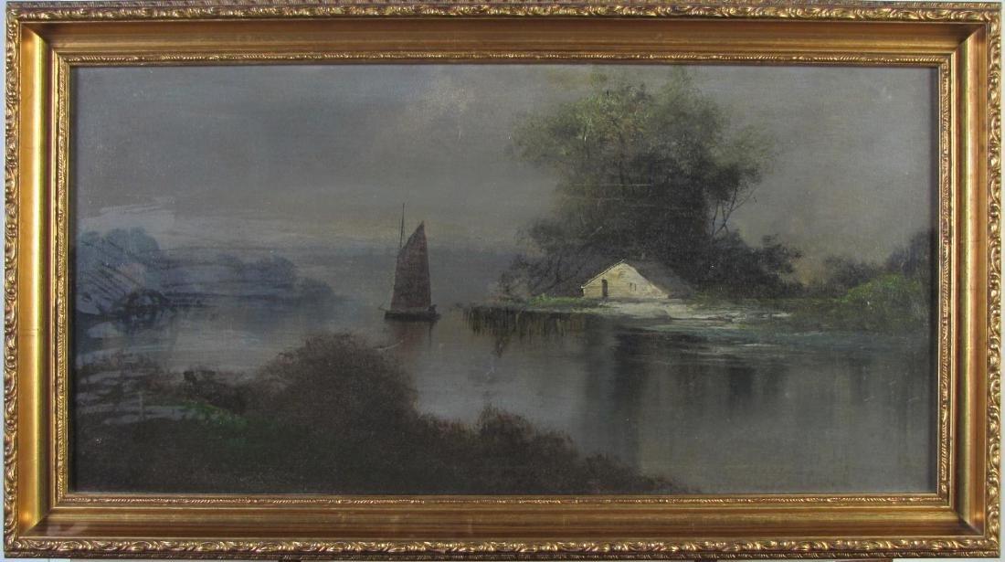 Hudson River 12x24 O/C Noctural River Scene