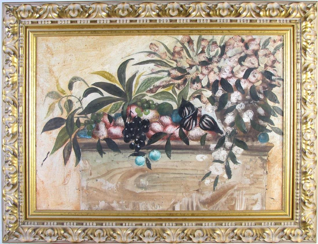 Unsigned 22x31 O/C Still Life, Fruit, Leaves