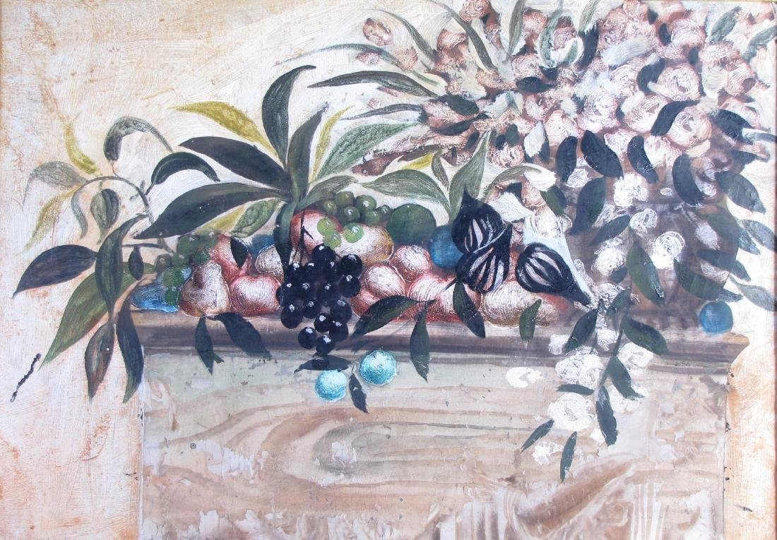 Unsigned 22x31 O/C Still Life, Fruit, Leaves - 2