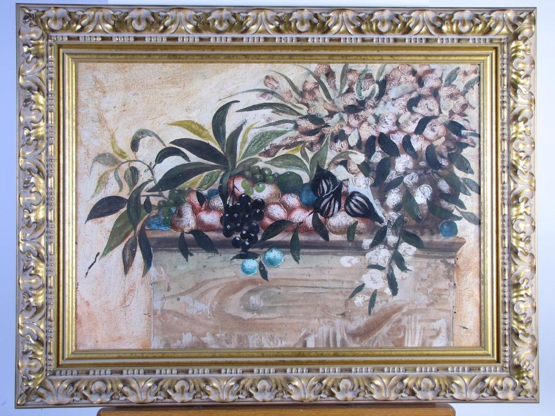 Unsigned 22x31 O/C Still Life, Fruit, Leaves - 3