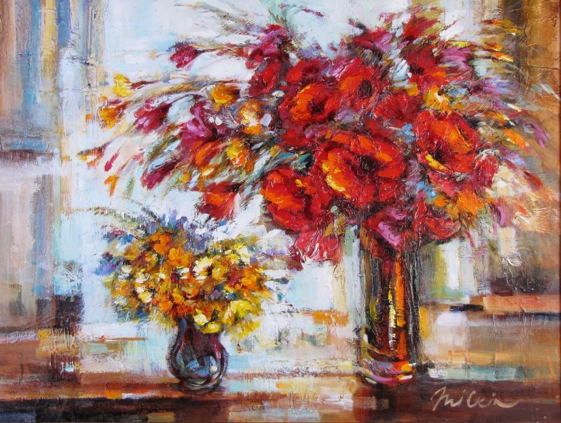 Michael Milkin 29x39 O/C Two Vases, Flowers
