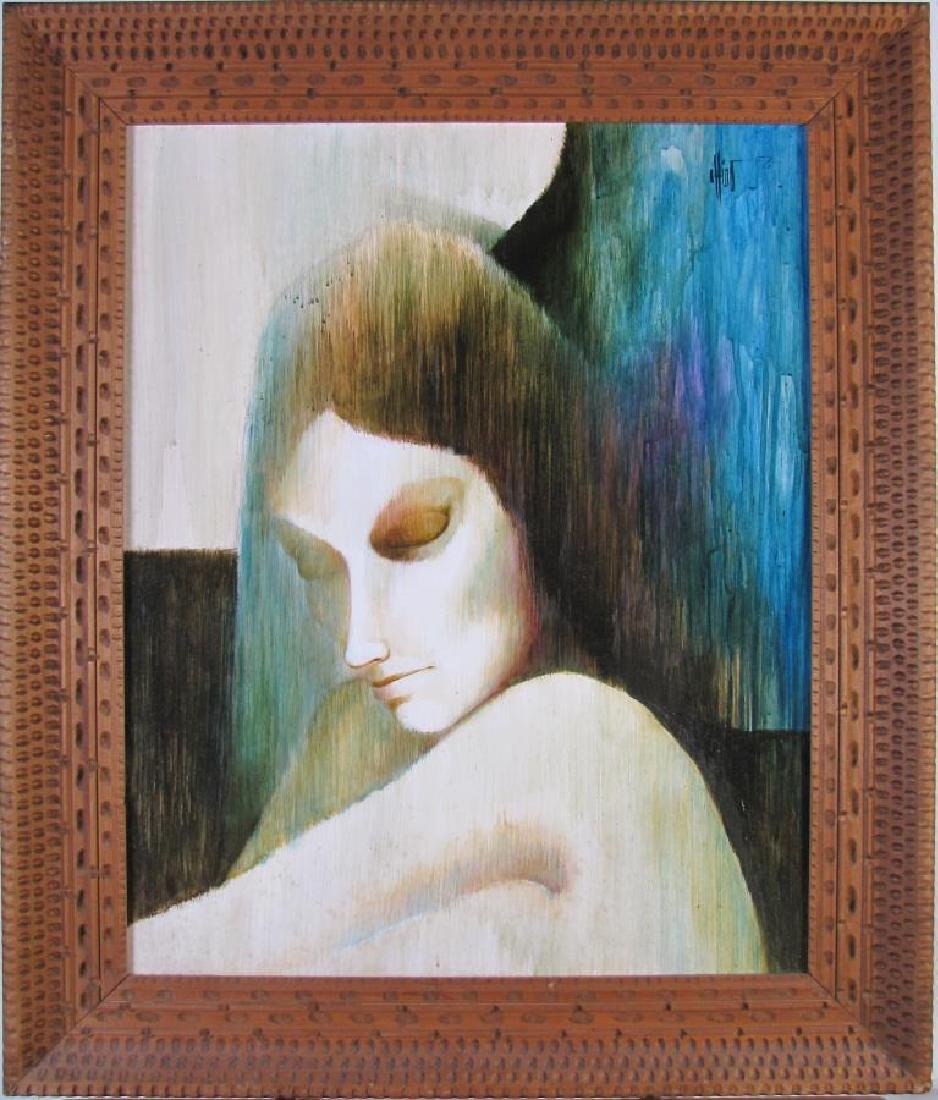 """Unclearly Signed 28x22 O/B """"Magic Woman"""""""