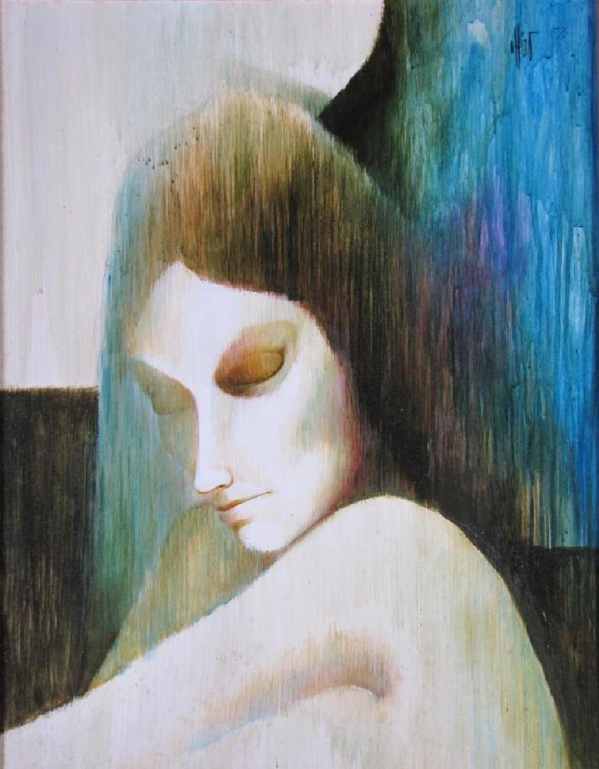 """Unclearly Signed 28x22 O/B """"Magic Woman"""" - 2"""