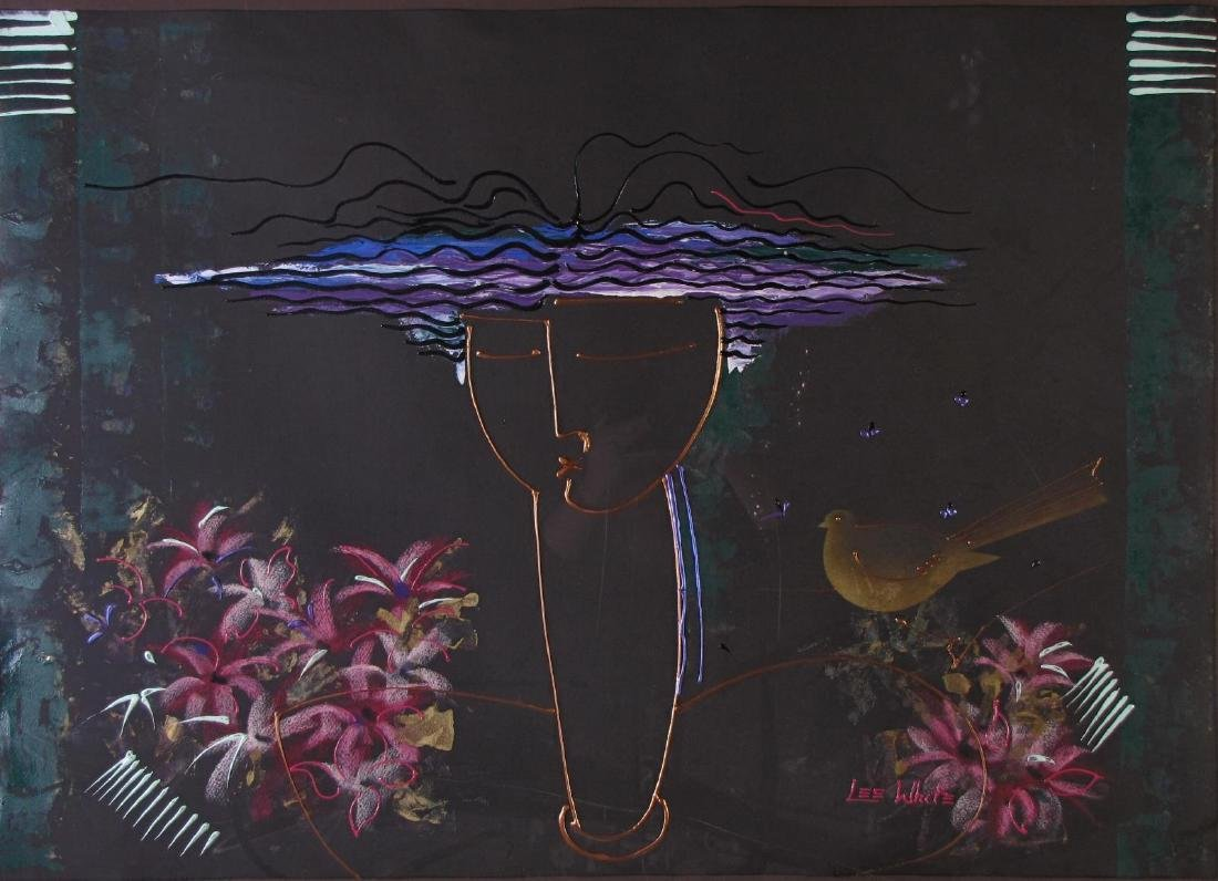Lee White 30x42 MixMed Figure with Flowers