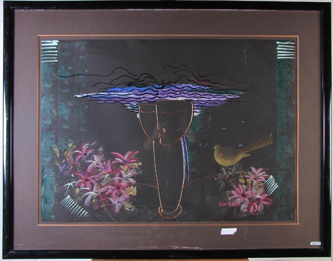Lee White 30x42 MixMed Figure with Flowers - 2
