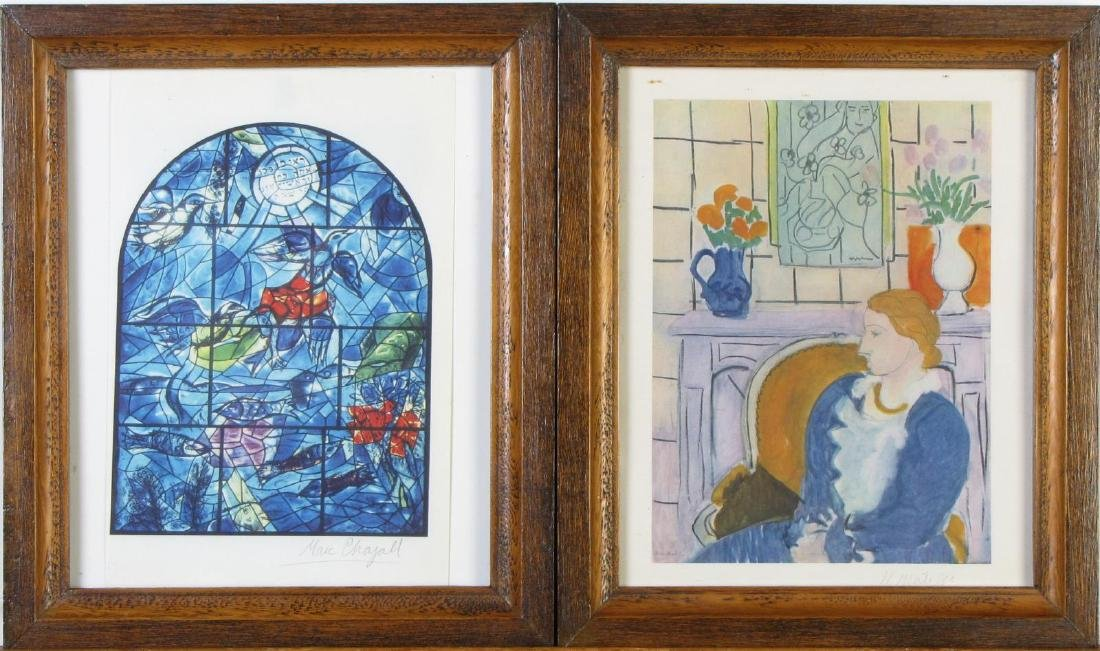 Two Framed Prints, After Chagall and Matisse