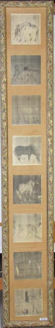 8 Oriental Horse Prints, Vertically Framed