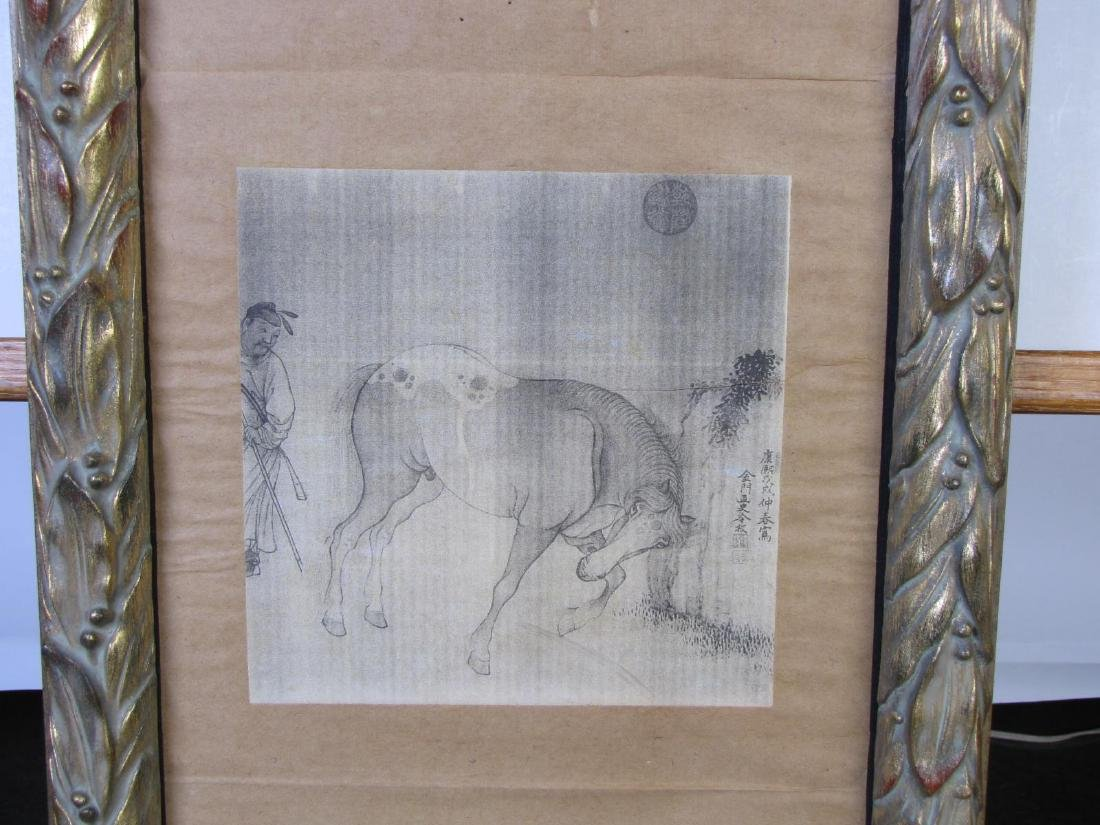 8 Oriental Horse Prints, Vertically Framed - 7