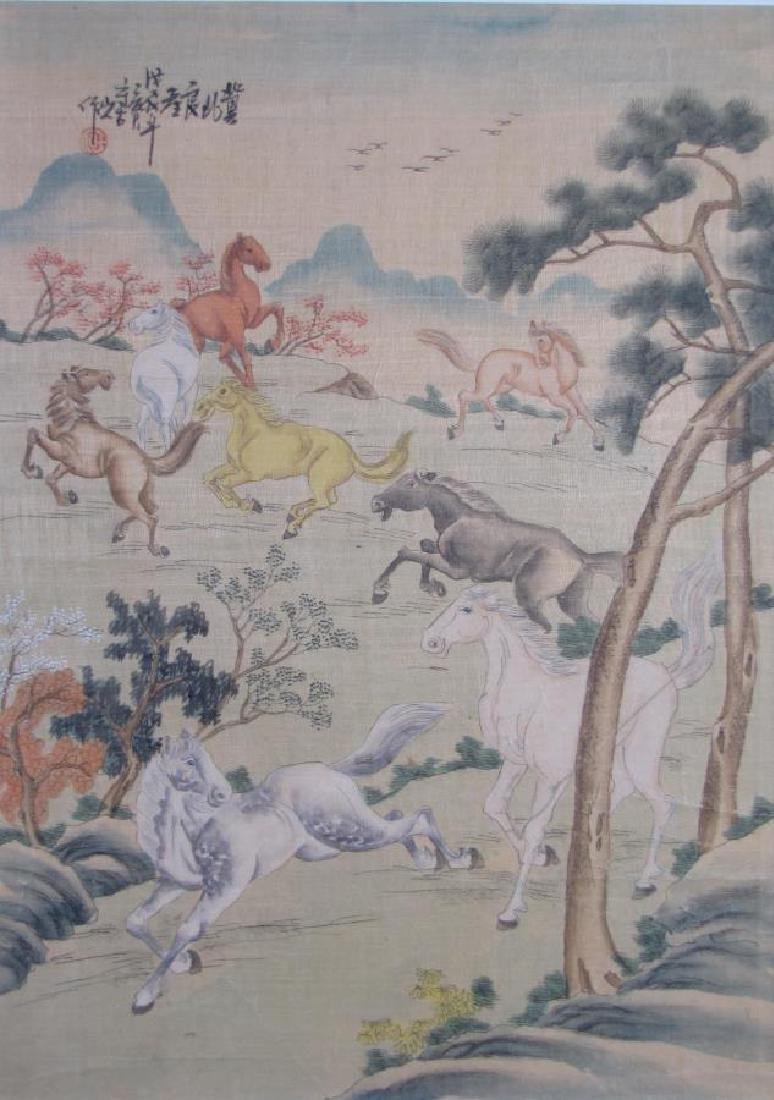 Japanese Color Woodblock Print on Silk